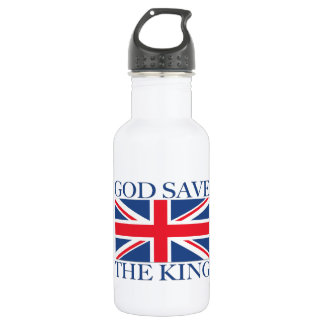 God Save the King with Union Jack Stainless Steel Water Bottle