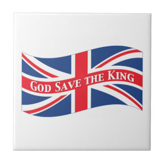 God Save the King with Union Jack Small Square Tile