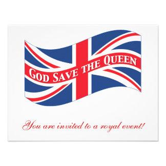 God Save the Queen con Union Jack Invitaciones Personales