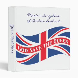 God Save the Queen with Union Jack 3 Ring Binder
