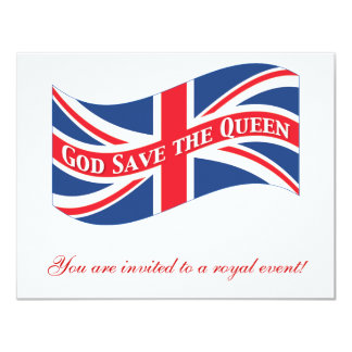 God Save the Queen with Union Jack 4.25x5.5 Paper Invitation Card