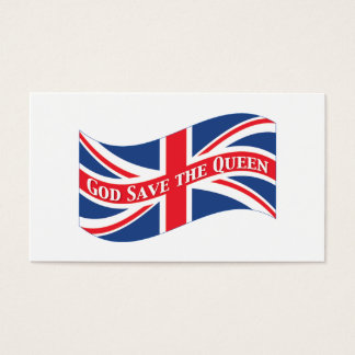 God Save the Queen with Union Jack Business Card