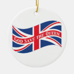 God Save the Queen with Union Jack Ceramic Ornament