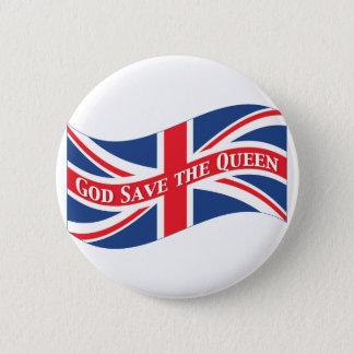God Save the Queen with Union Jack Pinback Button