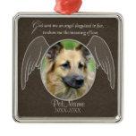 God Sent an Angel Pet Sympathy Custom Square Metal Christmas Ornament