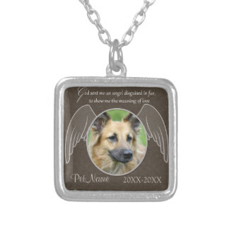 God Sent an Angel Pet Sympathy Custom Square Pendant Necklace