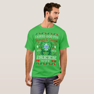 God Sent Greek Wife Christmas Ugly Sweater Shirt