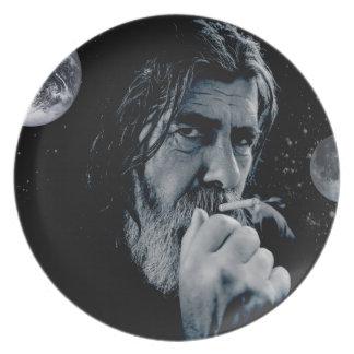 GOD Smoking Christian WARNING Atheist Dark Earth Plate