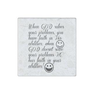 God solves your problem stone magnet