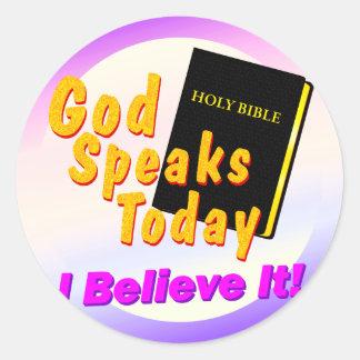 God Speaks Today Classic Round Sticker