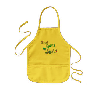 God Spins My World kids' Christian baking apron