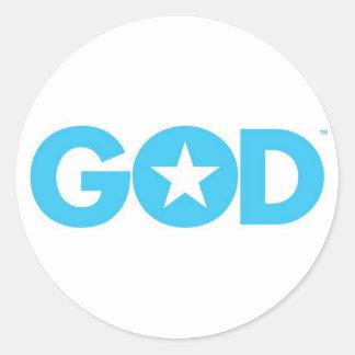 God Star Round Stickers