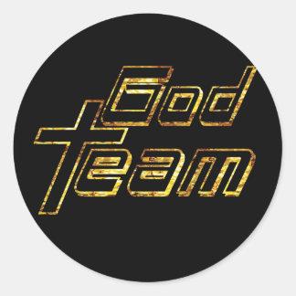 God Team or fond noir Classic Round Sticker