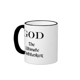 God - The Ultimate Multitasker Ringer Coffee Mug