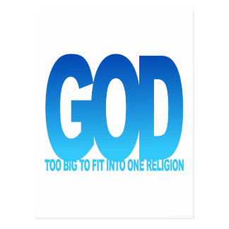 GOD TOO BIG TO FIT INTO ONE RELIGION POSTCARD