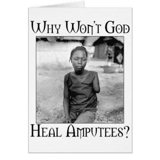 God vs Amputees Greeting Card