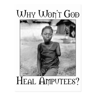 God vs Amputees Postcard