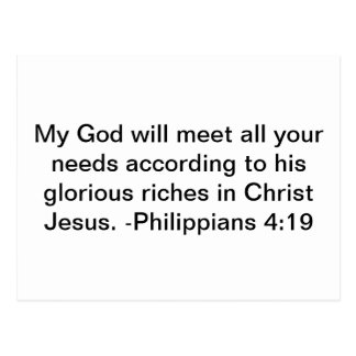 god will meet our needs postcard