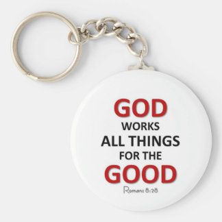 God works things out for the good basic round button keychain
