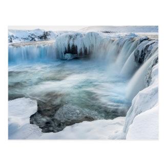 Godafoss waterfall, winter, Iceland 2 Postcard