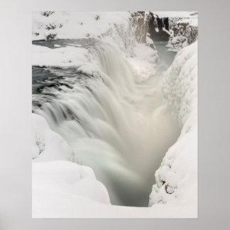 Godafoss waterfall, winter, Iceland Poster