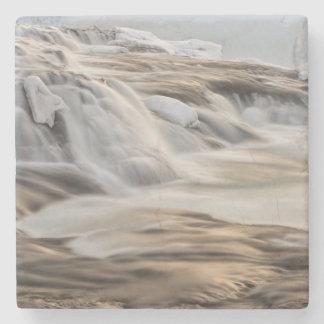 Godafoss waterfall, winter, Iceland Stone Coaster