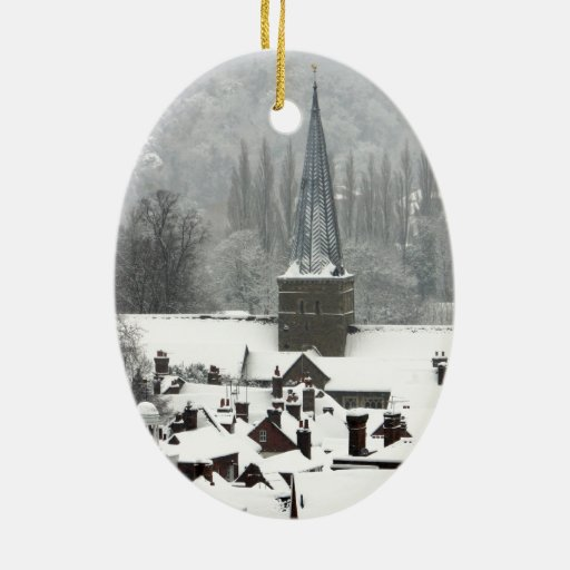 Godalming Snow Double-Sided Oval Ceramic Christmas Ornament