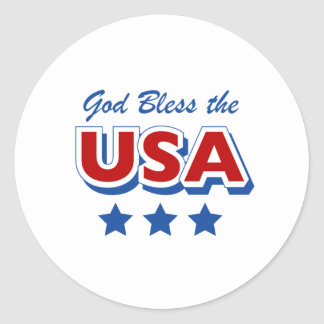 Godbless the USA Classic Round Sticker