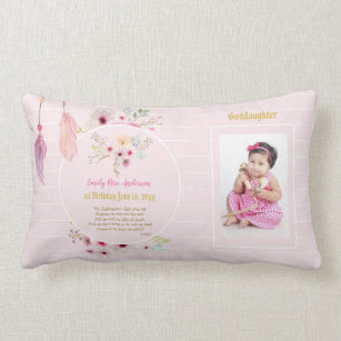 Goddaughter 1st Birthday PHOTO And POEM Gift Lumbar Pillow