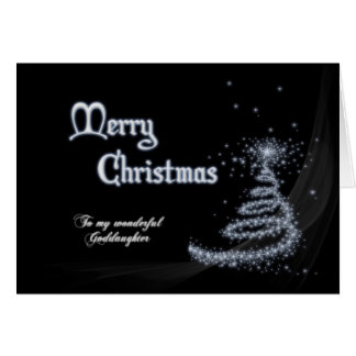 Goddaughter, a Black and white Christmas card