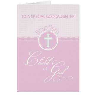 Goddaughter Baptism Congratulations Pink Child Greeting Card