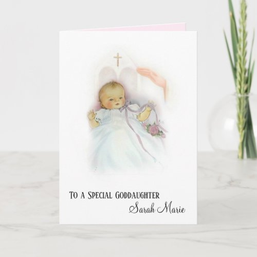 Goddaughter Batismal Girl Christening Card