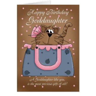 Goddaughter Birthday Card - Cute Cat Purse Pet