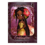 Goddaughter Birthday Card - Cute Pink Fairy