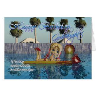 Goddaughter Birthday card, Moonies Cutie Pie pool Greeting Card
