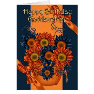 Goddaughter Birthday Card - Sunflower And Dragonfl