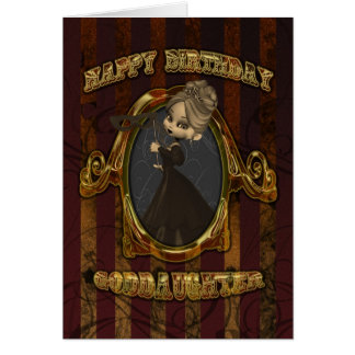 Goddaughter Birthday Card Vaudeville Style Moonies