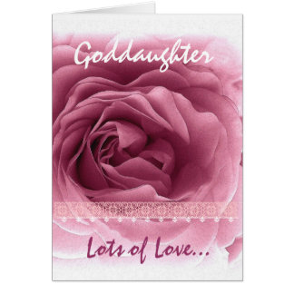 GODDAUGHTER Birthday - Pink Rose and Lace Trim Card