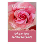 GODDAUGHTER Birthday with Pink Rose and Lace Trim Greeting Cards