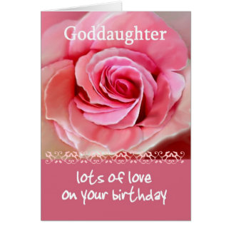 GODDAUGHTER Birthday with Pink Rose and Lace Trim Card