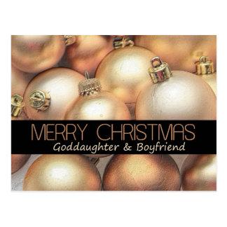 Goddaughter & Boyfriend Merry Christmas card Postcard