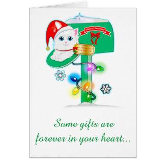 Goddaughter: Christmas Kitten in Mailbox Card