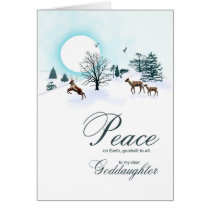 Goddaughter, Christmas scene with reindeer Card