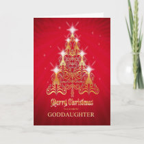 Goddaughter, Christmas tree Christmas card
