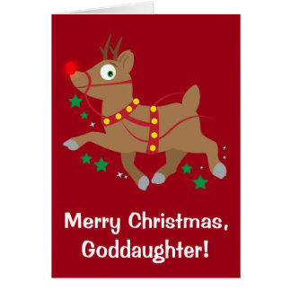 Goddaughter Christmas with Red-Nosed Reindeer Card
