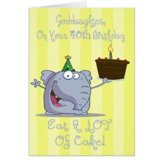 Goddaughter Eat More Cake 40th Birthday Card