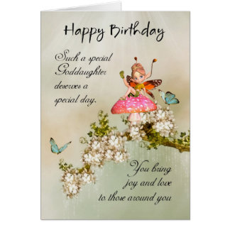Goddaughter Fairy Birthday Card With Blossom