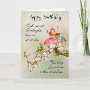 Goddaughter cards zazzle goddaughter fairy birthday card with blossom m4hsunfo
