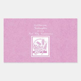 Goddaughter First Communion, Pink Rectangular Sticker