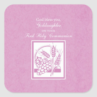 Goddaughter First Communion, Pink Square Sticker